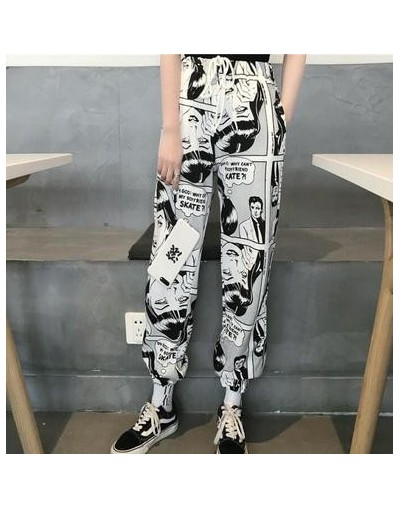 Streetwear Harem Pants Women Harajuku Cartoon Print Ankle-Length Trousers Female Bunch Legs Drawstring High Waist Pants Plus...