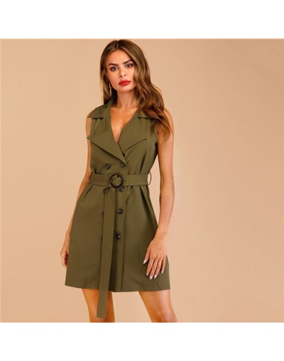 Army Green Notched Collar Double Breasted Belted Elegant Shirt Blazer Dress Women 2019 Summer Sleeveless Ladies Dresses - Ar...