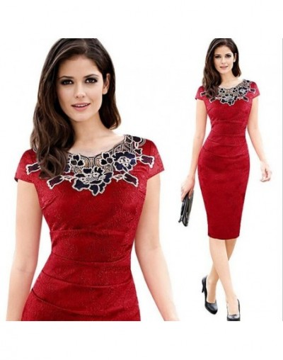 Womens embroidery Elegant Vintage Dobby fabric Hollow out embroidered Ruched Pencil Bodycon Evening Party Dress - 1 - 4D3803...