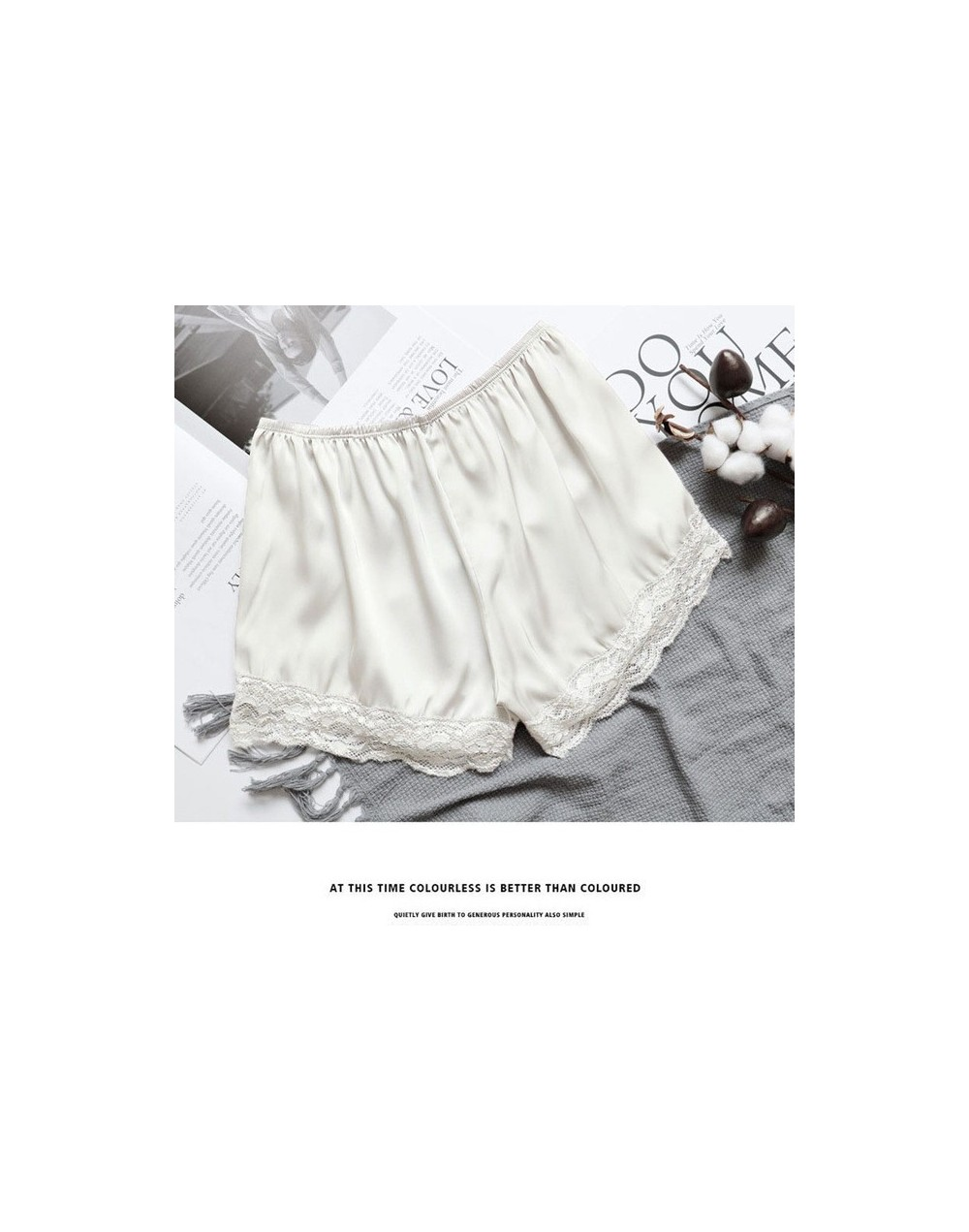 2019 Women's Shorts Summer New Style Fashion Anti-lighting Thin Lace Shorts Ice Silk Solid Color Thin Section Shorts - W - 5...