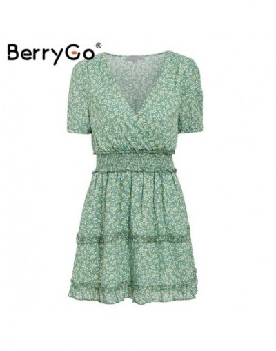 Bohemian floral print cotton dress women Green ruffle ruched v neck female summer dresses Holiday beach ladies vestidos - Gr...