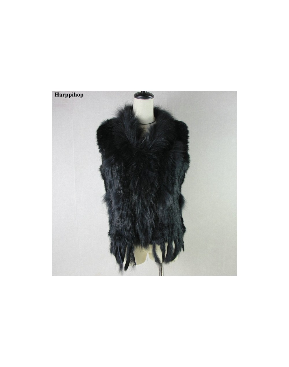 womens natural real rabbit fur vest with raccoon fur collar waistcoat/jackets rex rabbit knitted winte - black - 4Y3940914631-5