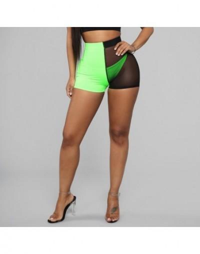 Women Sport Shorts Mesh Patchwork Design See Through Shorts Fashion Mid Waist Elastic Hip Shorts Ladies Streetwear Shorts - ...