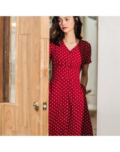 women's red polka dot dress sexy v neck vintage maxi summer dress mid elegant chiffon short sleeve women long dresses 2019 -...