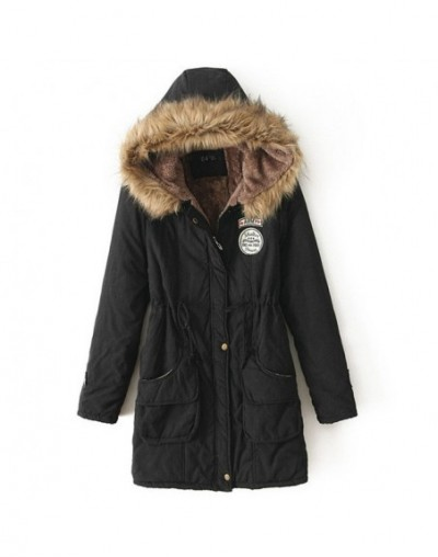 Women Parkas Winter Coat Thickened Cotton Winter Warm Jackets Fashion Faux Fur Collar Hooded Coat Women Overcoat - Black - 4...