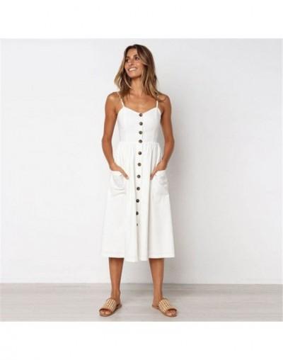Fashion Casual Women V Neck Dress Sexy Sleeveless Spaghetti Strap Button Procket Dresses - DR0076White - 484142311345-5