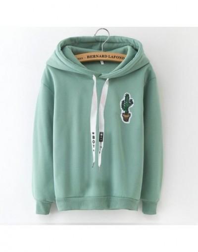 S-XXXL Autumn Winter Fleece Harajuku Pullover Solid Thick Loose Women Hoodies Sweatshirts Female Casual Coat - cj40 cactus -...