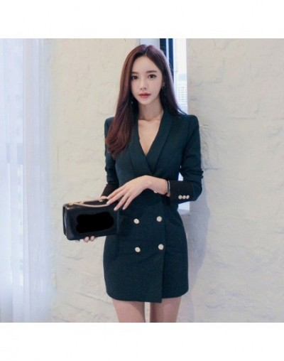 2018 Autumn Winter Long Slim Blazers Women New Double Breasted Blazer Coats Button Ladies Patchwork Work Suit Jacket - Green...