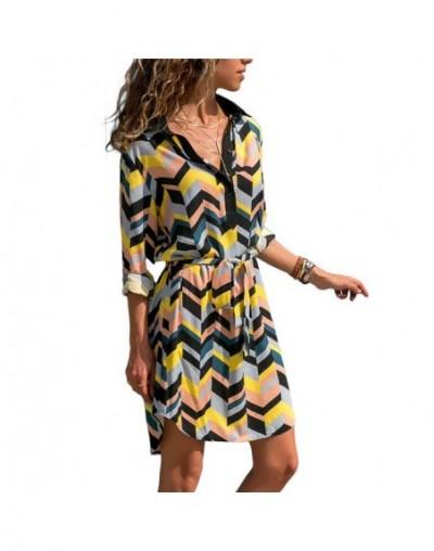 Women Striped Shirt Dress Summer A-line Chiffon Beach Dress Casual Loose Long Sleeve Office Mini Party Dresses Vestidos Muje...