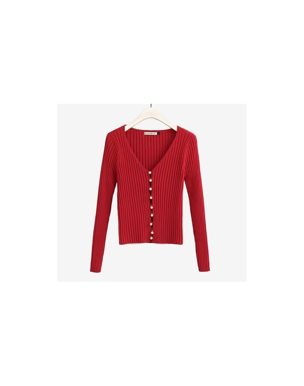 2019 Spring New Stylish Knitting Single Breasted Pearl Cardigan Sweater Woman Deep V-neck Long Sleeve Jumper kleding jerseis...