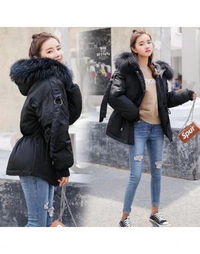 Cotton Parkas Short Winter Jacket Women Hooded Warm Coat Female Loose Parka Large Fur Collar Cotton Padded Jackets - Black -...