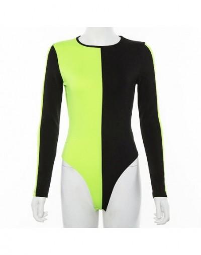 Neon Green Orange Splice Long Sleeve Bodysuit Women Skinny 2019 Summer Clothes Fashion One Piece Rompers Jumpsuit Tops - neo...