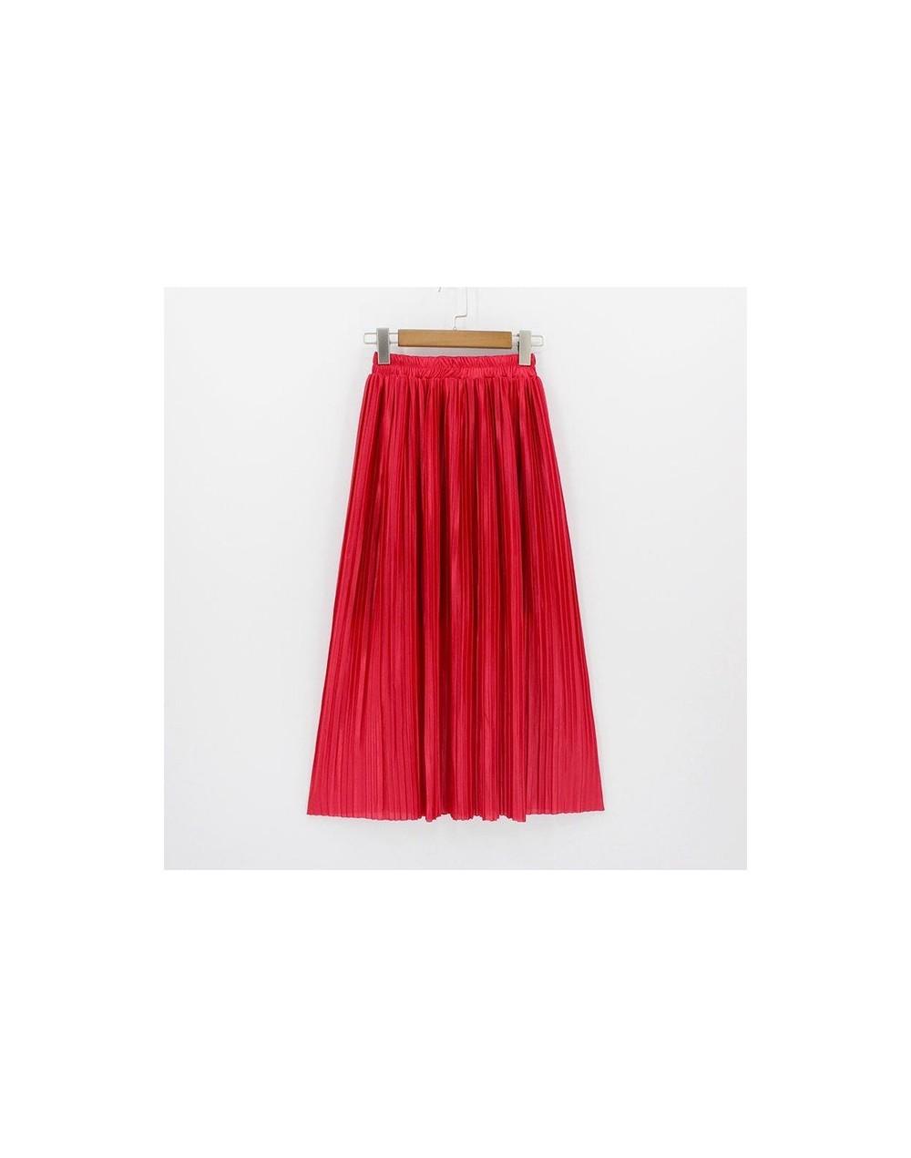 2018 New Women Fashion Long Skirts High Waist Pleated Maxi Skirt Bling Metallic Silk Tutu Skirt - red - 413901459385-13