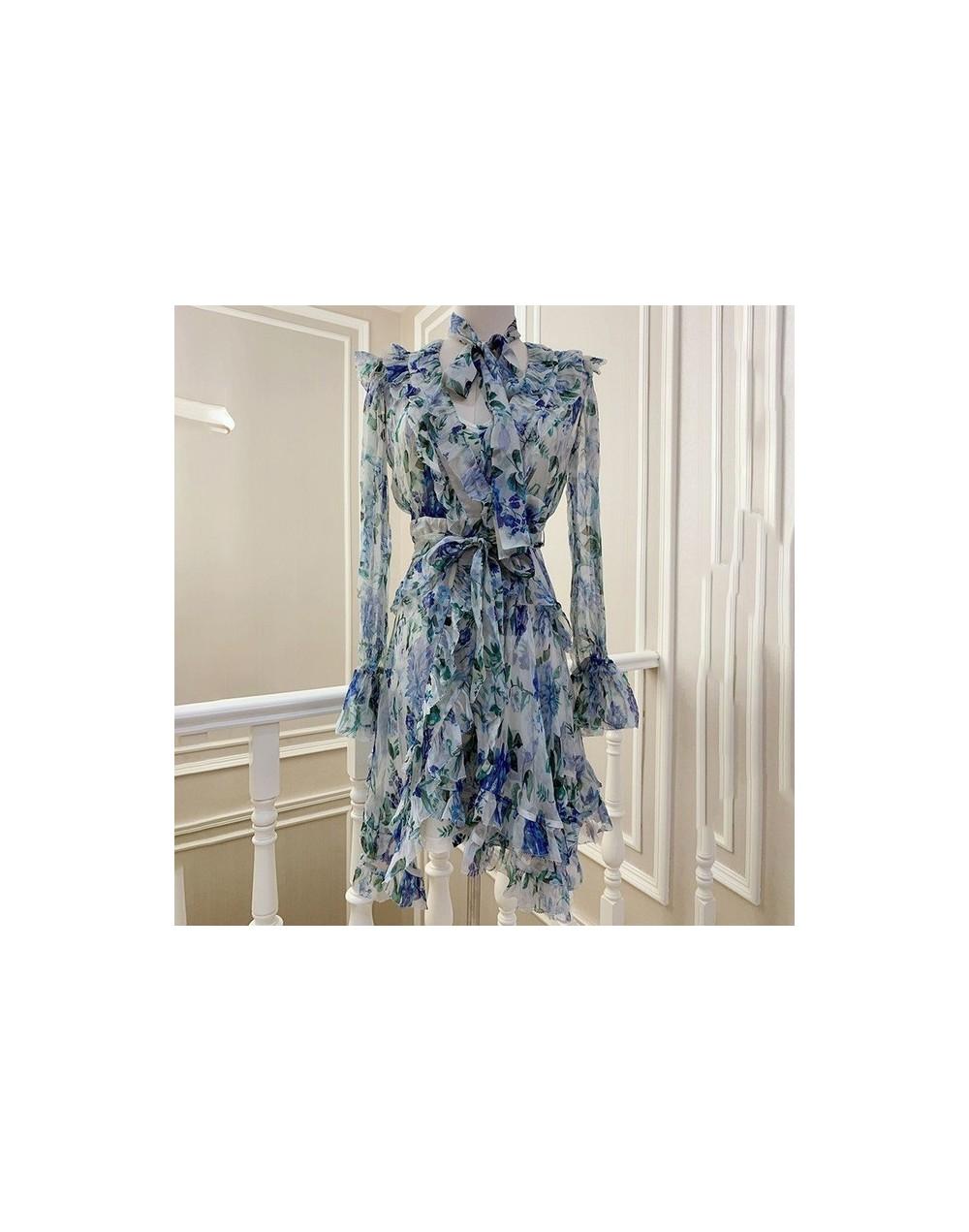 Vintage Print Women Dress V Neck Flare Sleeve High Waist Bandage Slim Asymmetrical Mini Dresses Female Fashion 2019 - blue -...