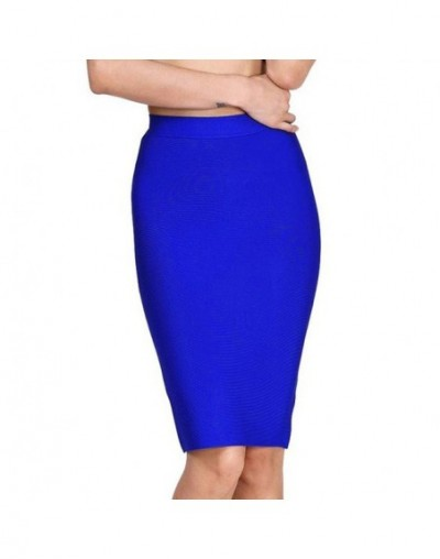 Brown Color Office Lady Pencil Bandage Skirt Empire Plus Size Knee Length Skirt Wholesale XL - Blue - 483064218950-2