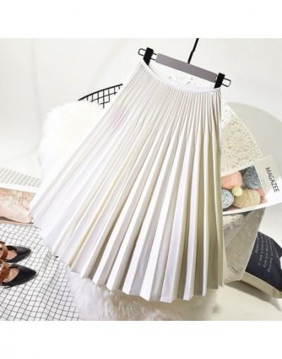 2019 Atumn Women Elegant Pleated Skirt High Waist Women White Long Skirt Female Ladies High Quality Women Midi Skirt Black S...