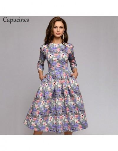 Navy Blue 3/4 Sleeves Printed Dress Women 2019 Spring Summer Vintage Pocket A-line Casual Dress Elegent Party Vestidos - Pur...