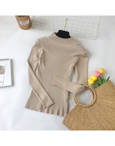 2019 New Fashion Women Sweaters Autumn Winter Elastic Pullovers Female Solid Long Sleeve Half Turtleneck Tops Casual - apric...